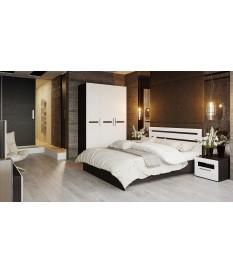 Спальный гарнитур «Фьюжн» (Белый глянец, Венге Линум)