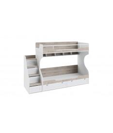 Кровать двухъярусная с приставной лестницей «Ривьера» (Дуб Бонифацио/Белый)