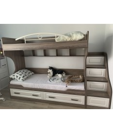 Двухъярусная кровать с лестницей с ящиками «Прованс»